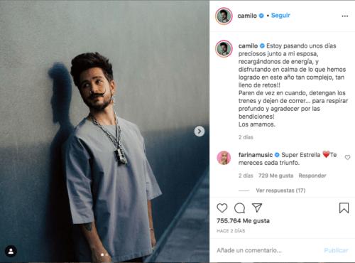 Cantante Camilo en instagram