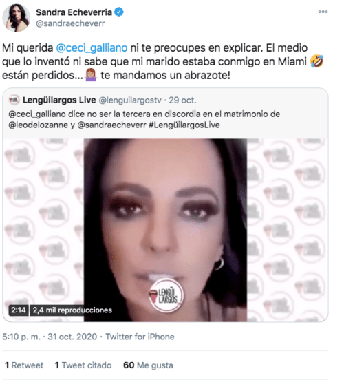 Mensaje Sandra Echeverría hacia Cecilia Galliano