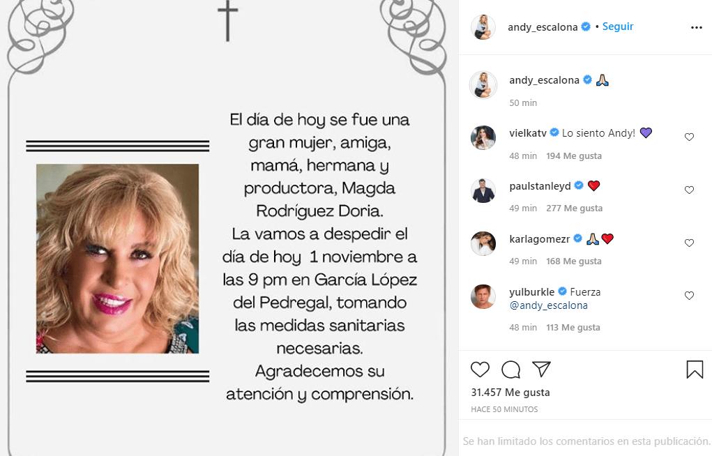 Andrea Escalona se despide de su mamá con mensaje conmovedor