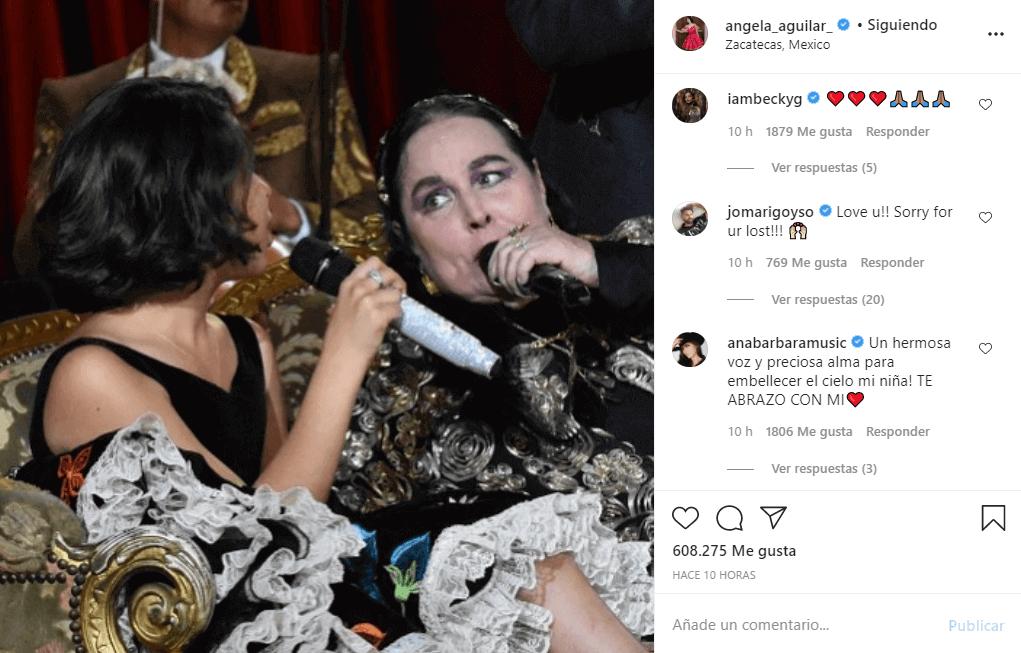 Ángela Aguilar se despide de Flor Silvestre con emotivo mensaje