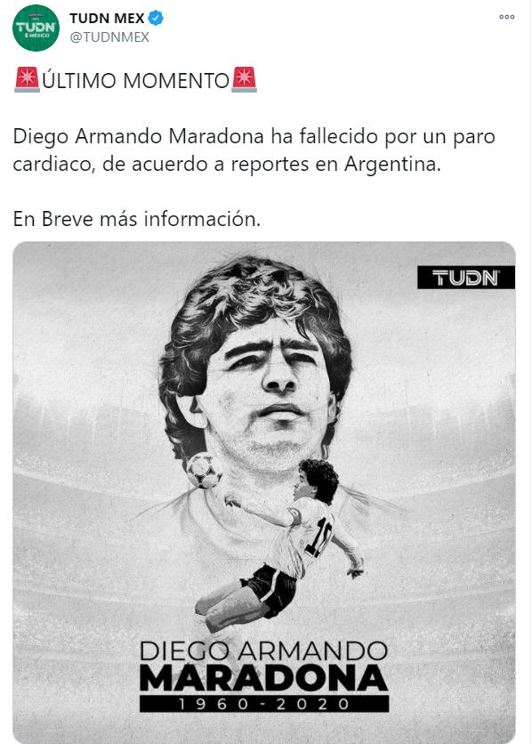 Murió Diego Armando Maradona a los 60 años de edad