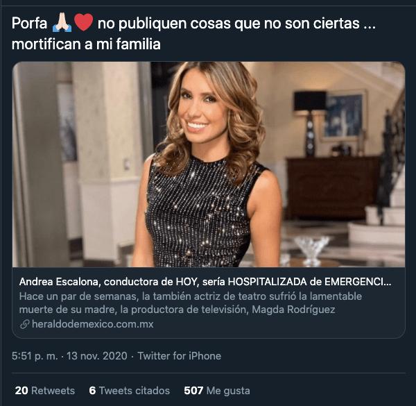 Andrea Escalona desmiente que esté hospitalizada por Covid-19