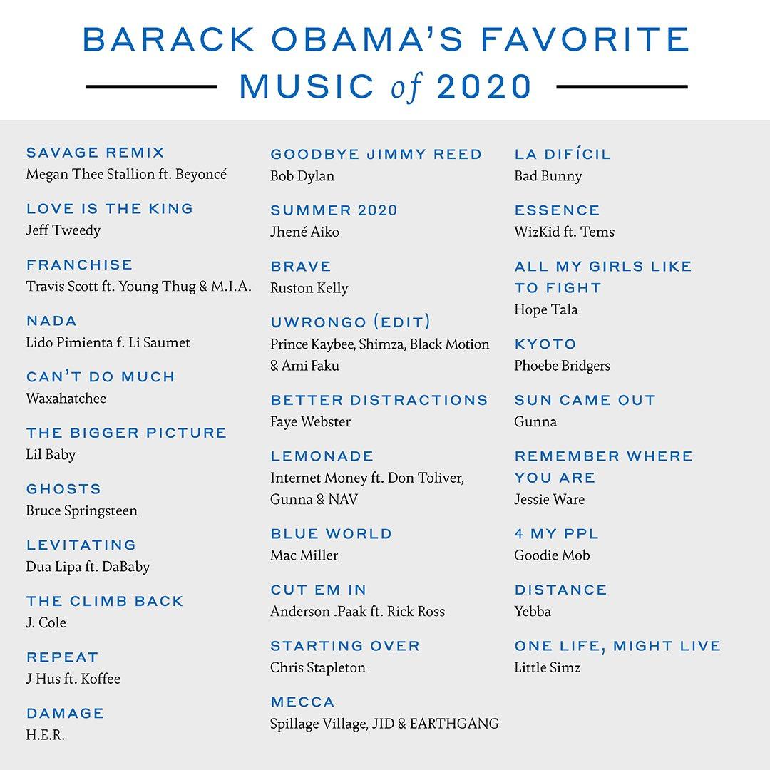 Foto canciones favoritas obama 2020