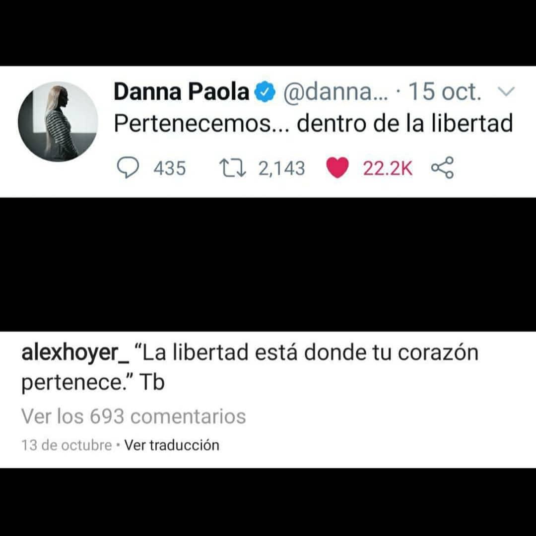 Alex Hoyer y Danna Paola comentarios Instagram