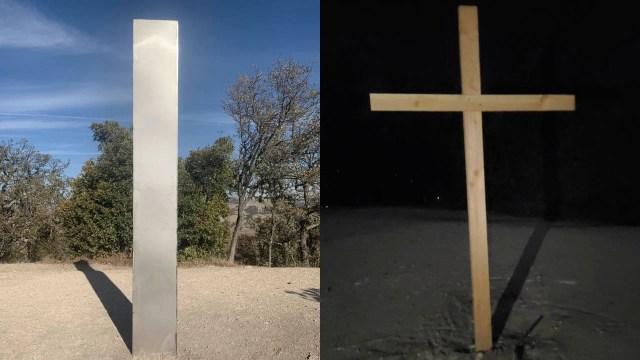 Retiran monolito que apareció en California y lo remplazan con una cruz que deapareció
