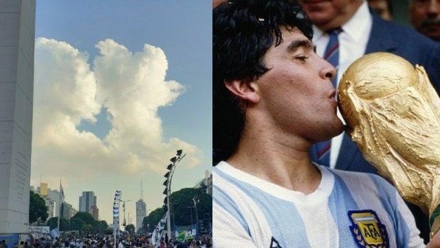 Aparición de Maradona en el cielo de Argentina
