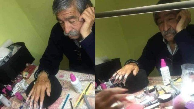 Papá deja que su hija le ponga uñas acrílicas para el examen de su curso