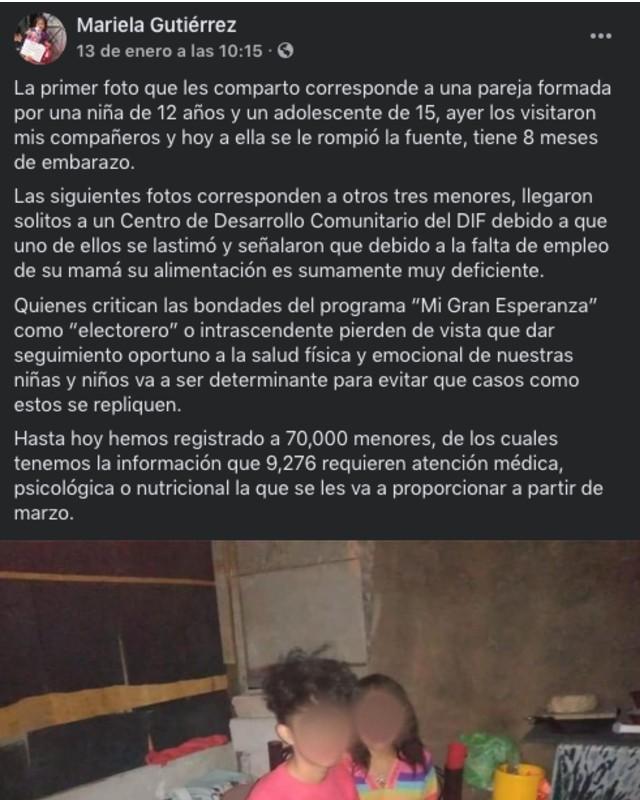 Mariela GFutierrez informa de la niña de 12 años que ya es mamá