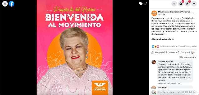 Paquita la del Barrio se lanza como candidata a diputada por Veracruz