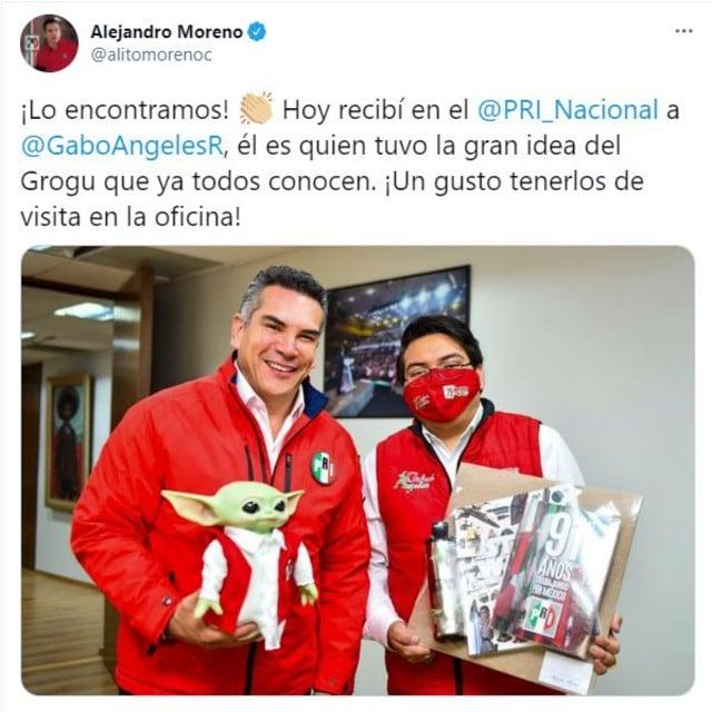 Alejandro Moreno, Presidente del PRI usa a Baby Yoda para promocionar su partido