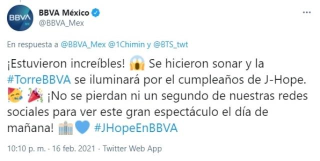 Tweet BBVA J Hope