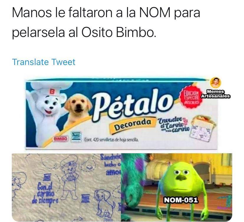 meme osito Bimbo servilleta