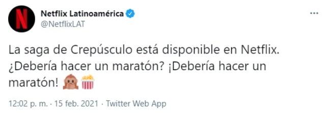 Tweet Netflix Crepusculo