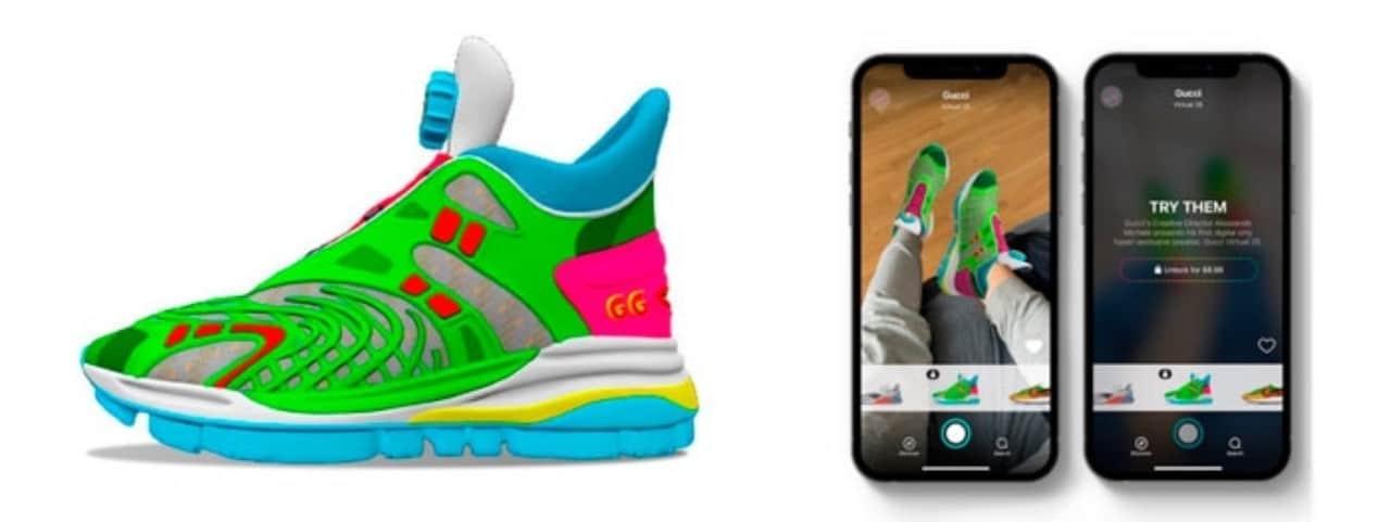 Gucci saca zapatos virtuales