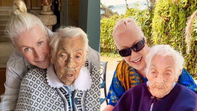 Laura Zapata y su abuela hospitalizada