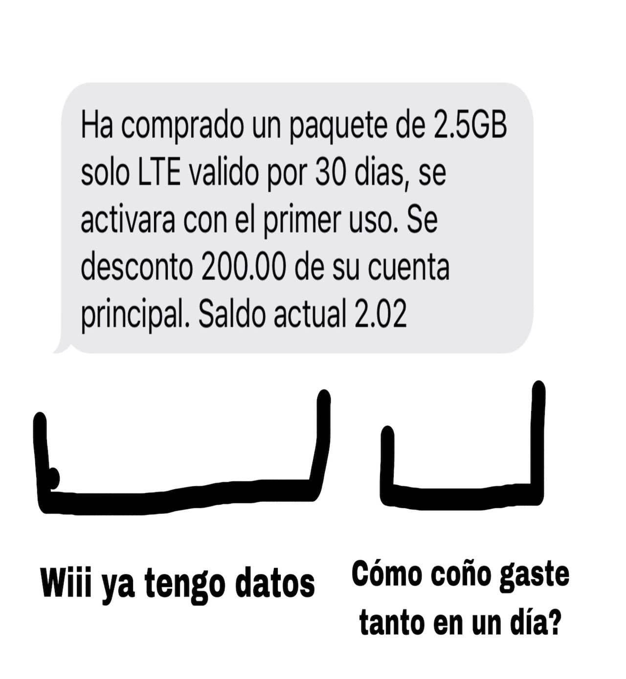 Meme de los corchetes con una recarga y datos móviles