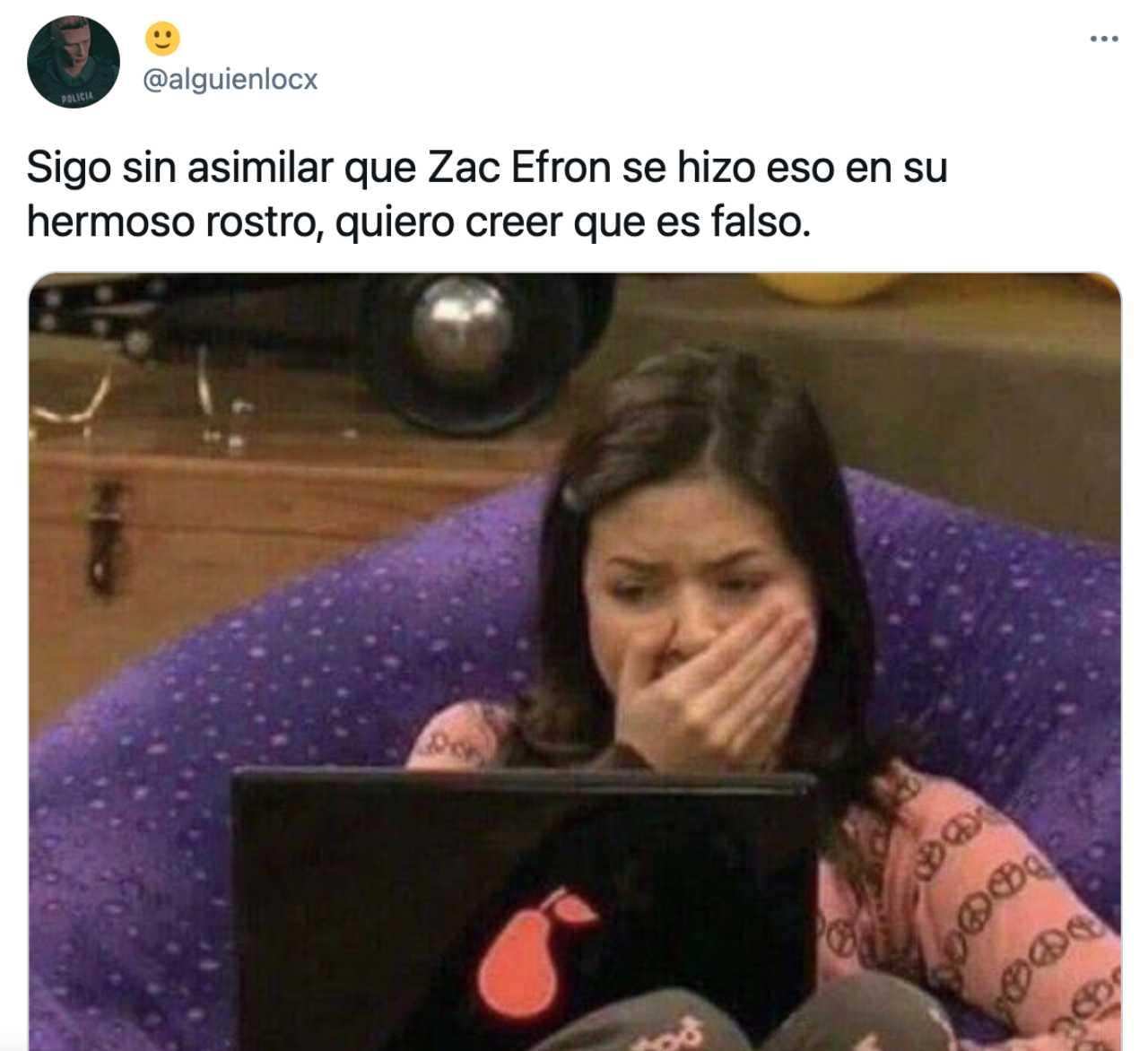 Un meme de Zac Efron con iCarly