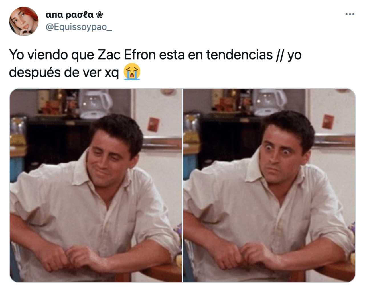Meme de Zac Efron con reacción de Friends
