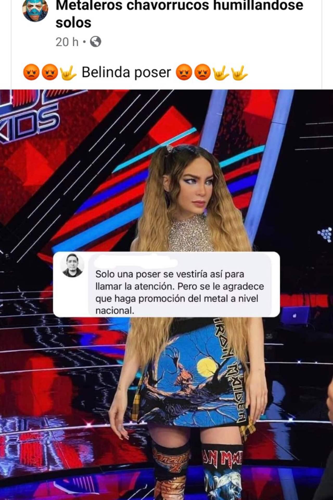 Belinda criticada por usar falda de Iron Maiden