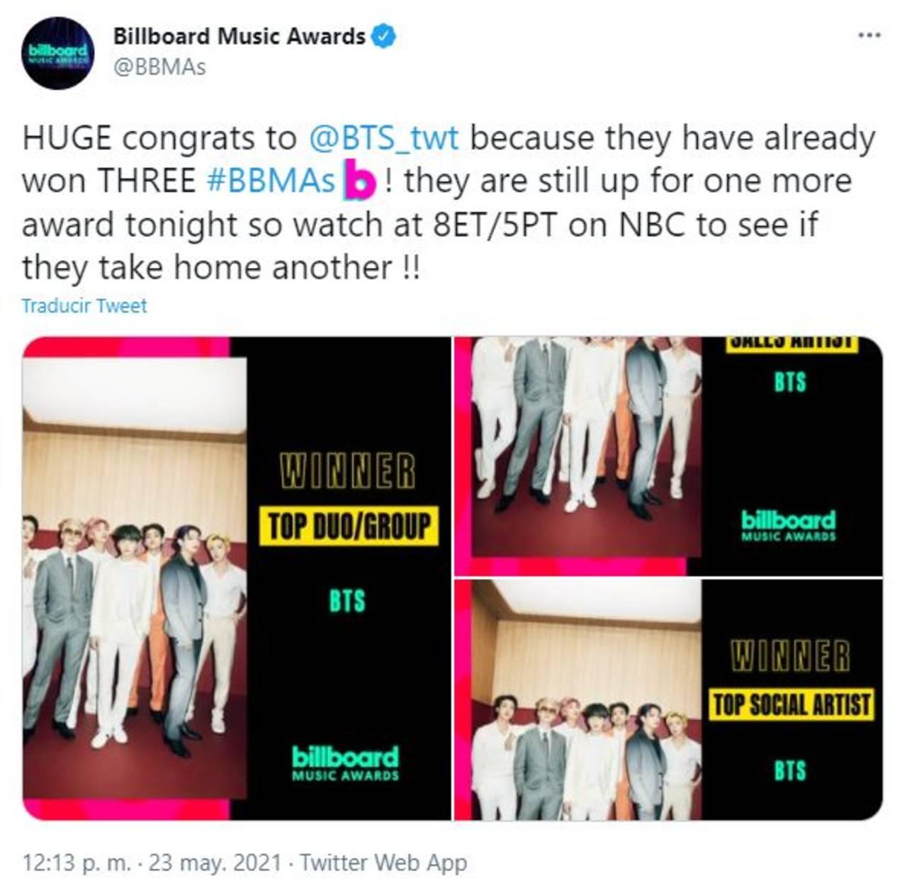 BTS gana premios en los Billboard Music Awards 2021
