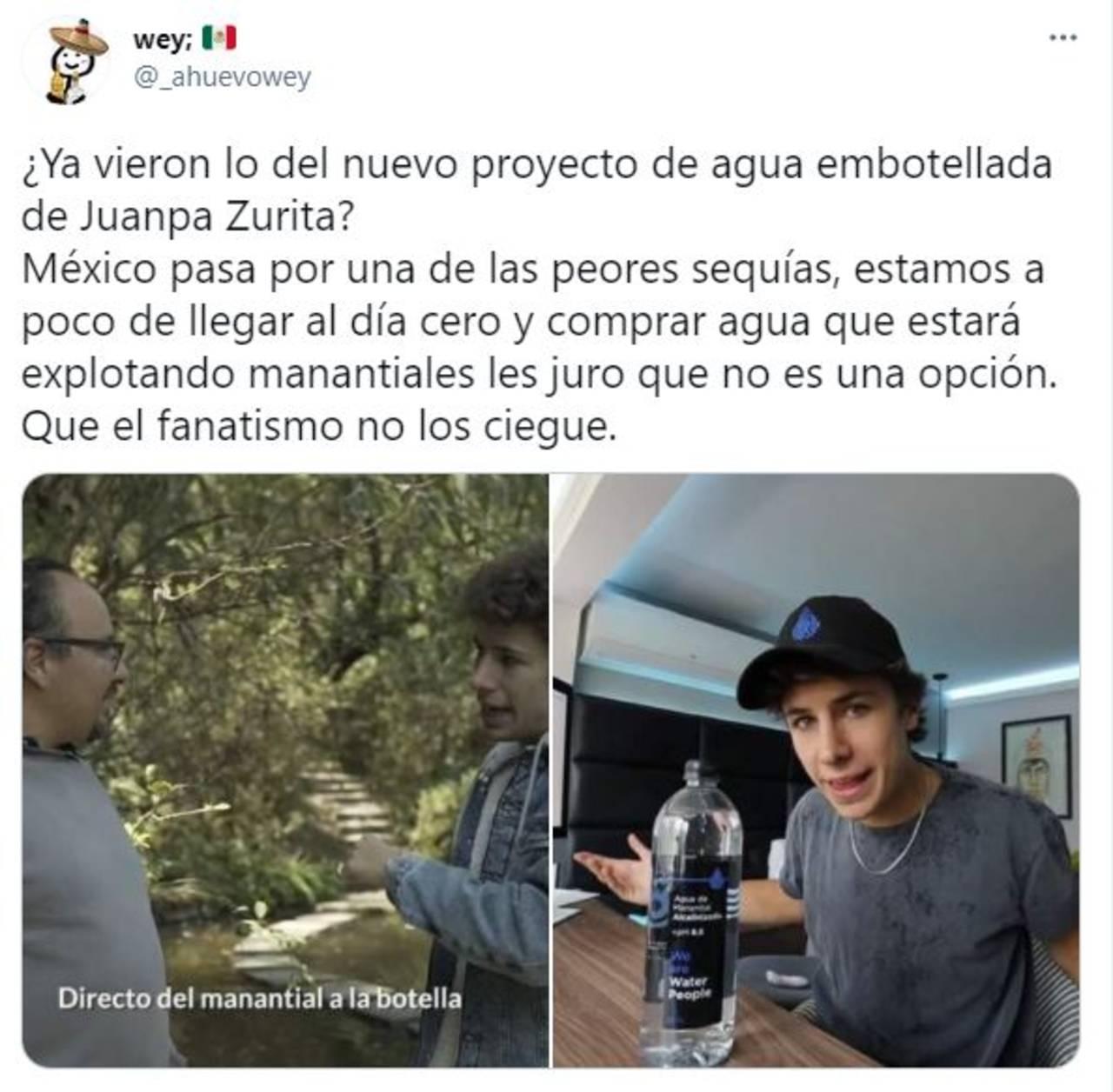 Juanpa Zurita agua embotellada agua