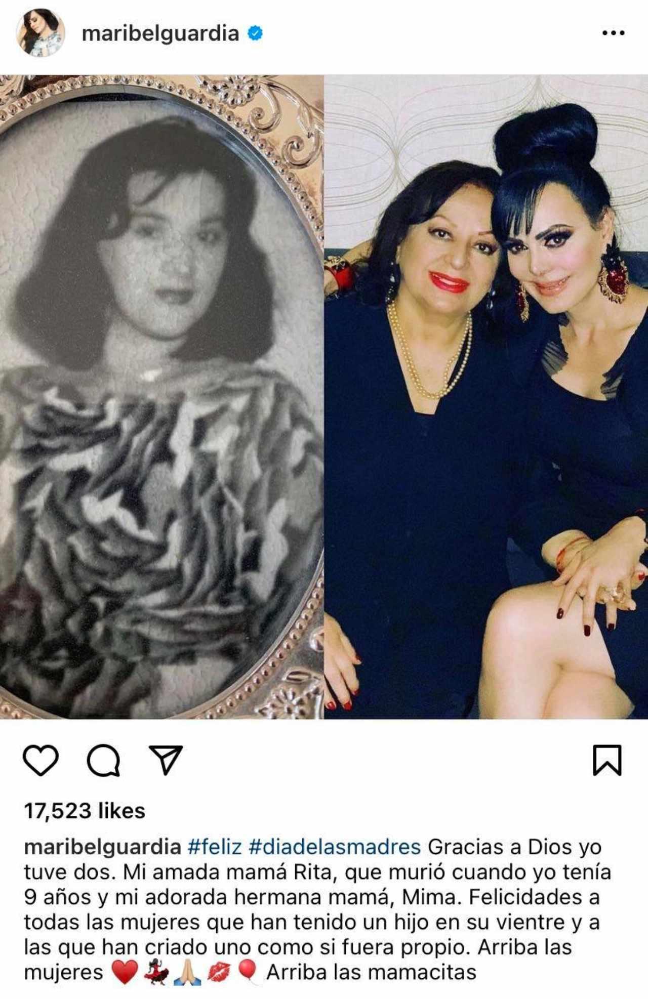 Maribel Guardia con su mama felicitacion
