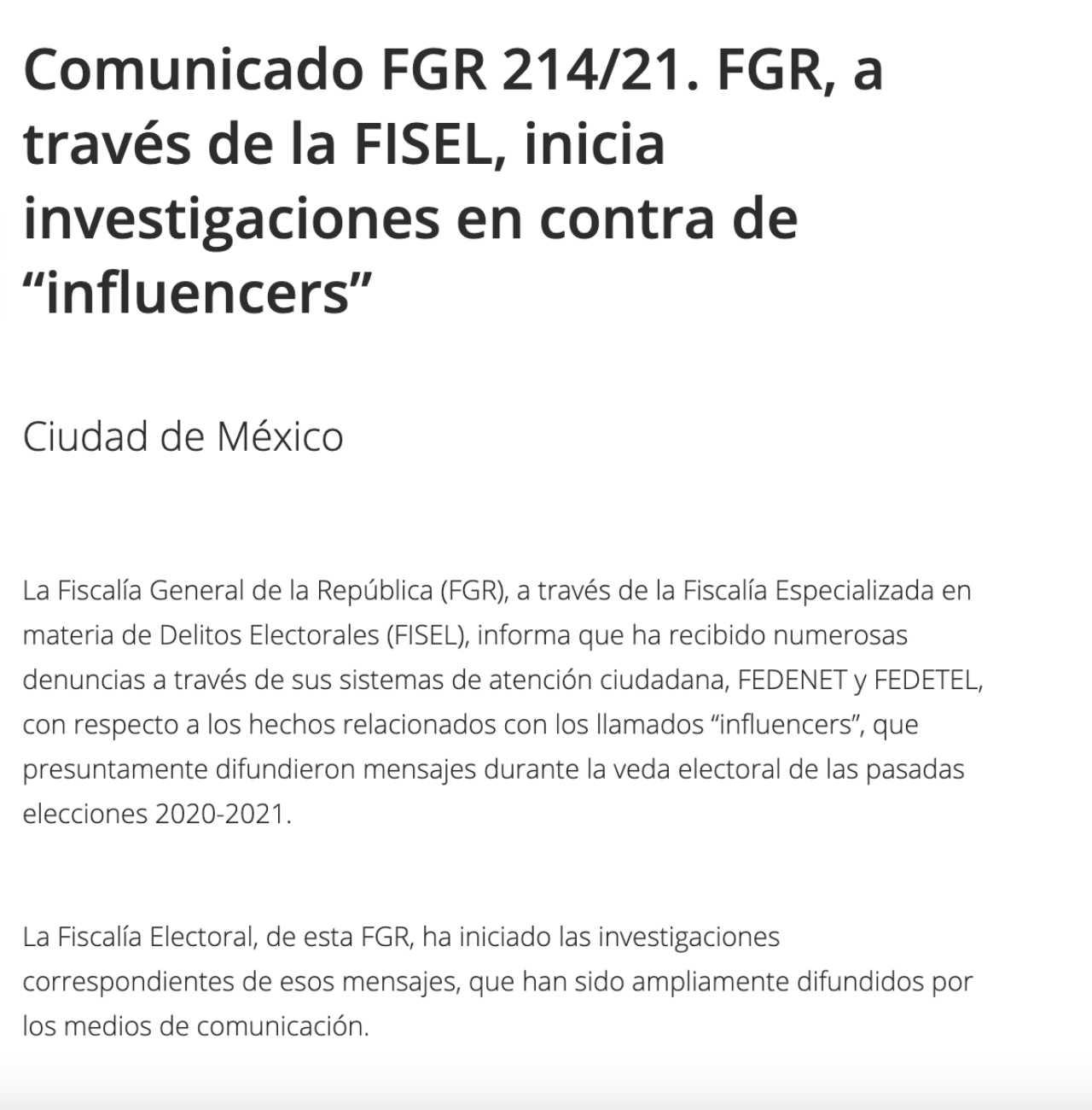 FGR inicia investigacion influencers partido verde
