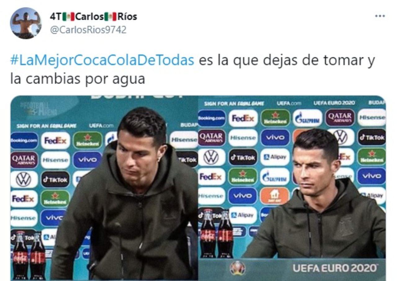 meme cristiano Ronaldo rechaza coca cola