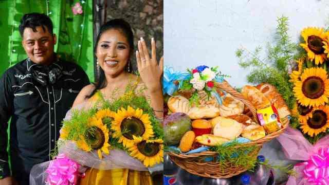 Pide matrimonio a su novia con un pavo, pan dulce y refrescos