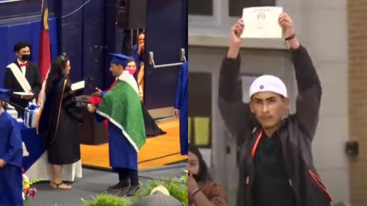 Dan diploma chico bandera Mexico graduacion