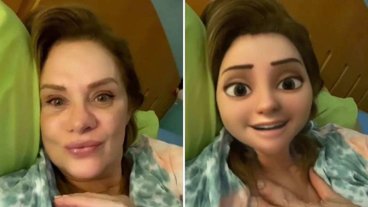 Erika Buenfil con filtro de Pixar