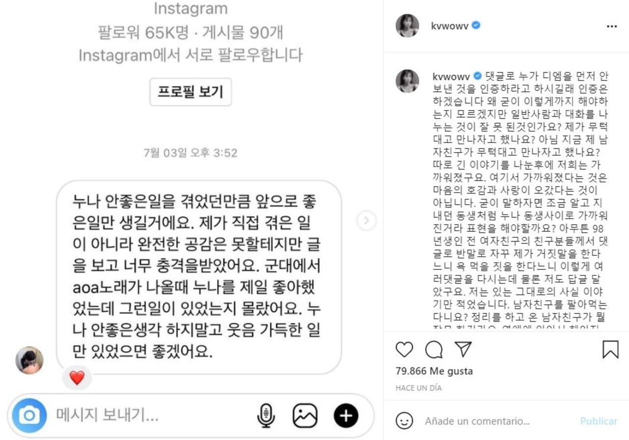 Mina de AOA defiende a su novio tras acusarla de bajárselo a otra mujer
