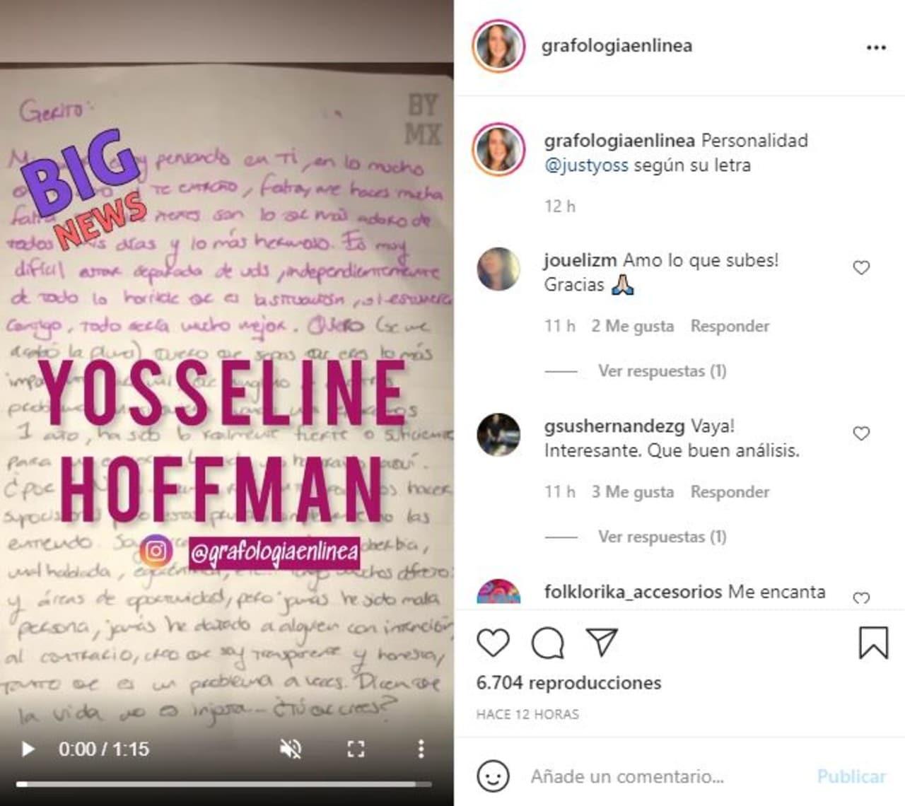 Análisis grafológico a carta de YosStop muestra que es narcisista