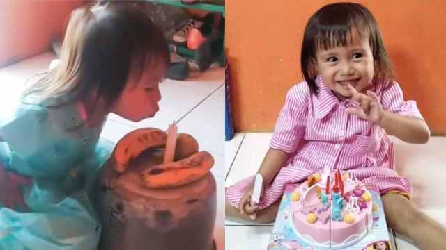 Papás improvisan pastel con plátanos, una olla y una vela porque no tenían dinero