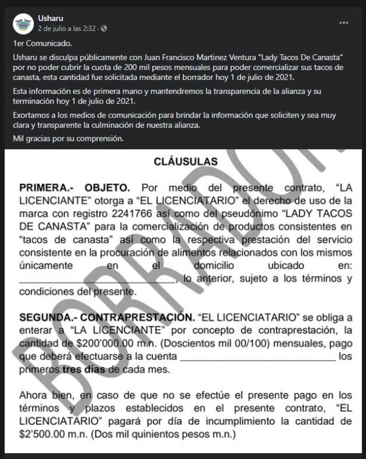 Lady Tacos de Canasta dejará de vender en restaurante porque quería 200 mil al mes, revelan