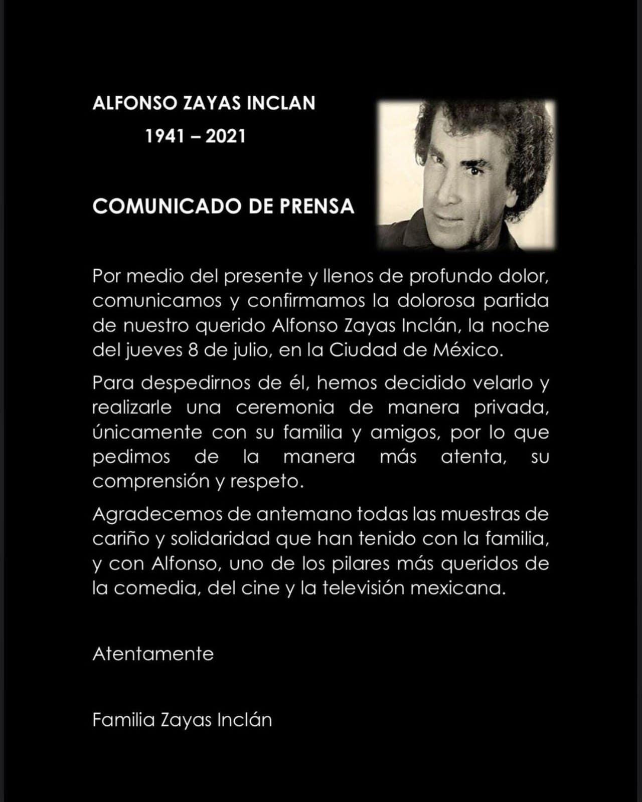 Comunicado muerte Alfonso Zayas 80 anos