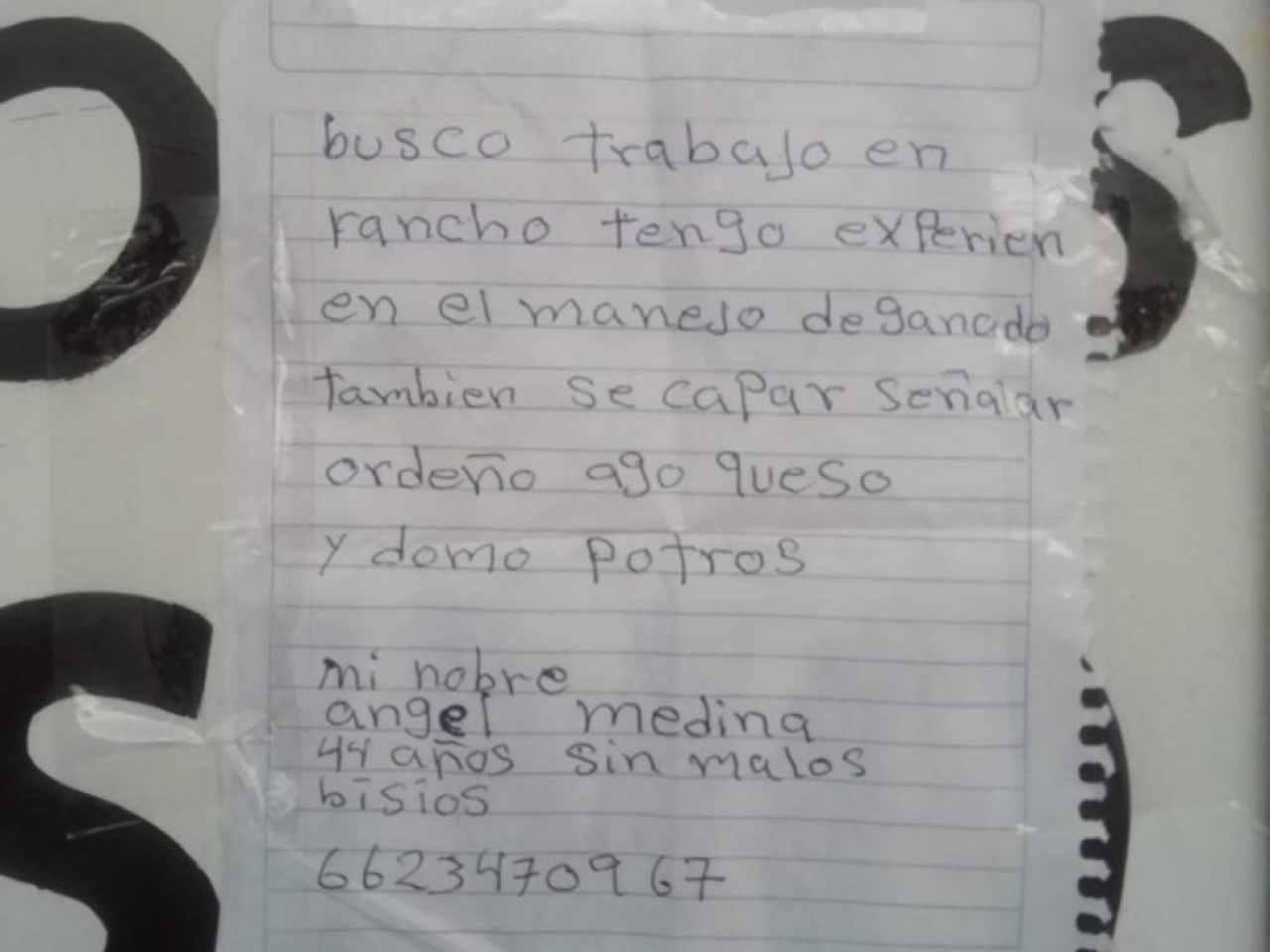 Currículum a mano de Ángel Medina