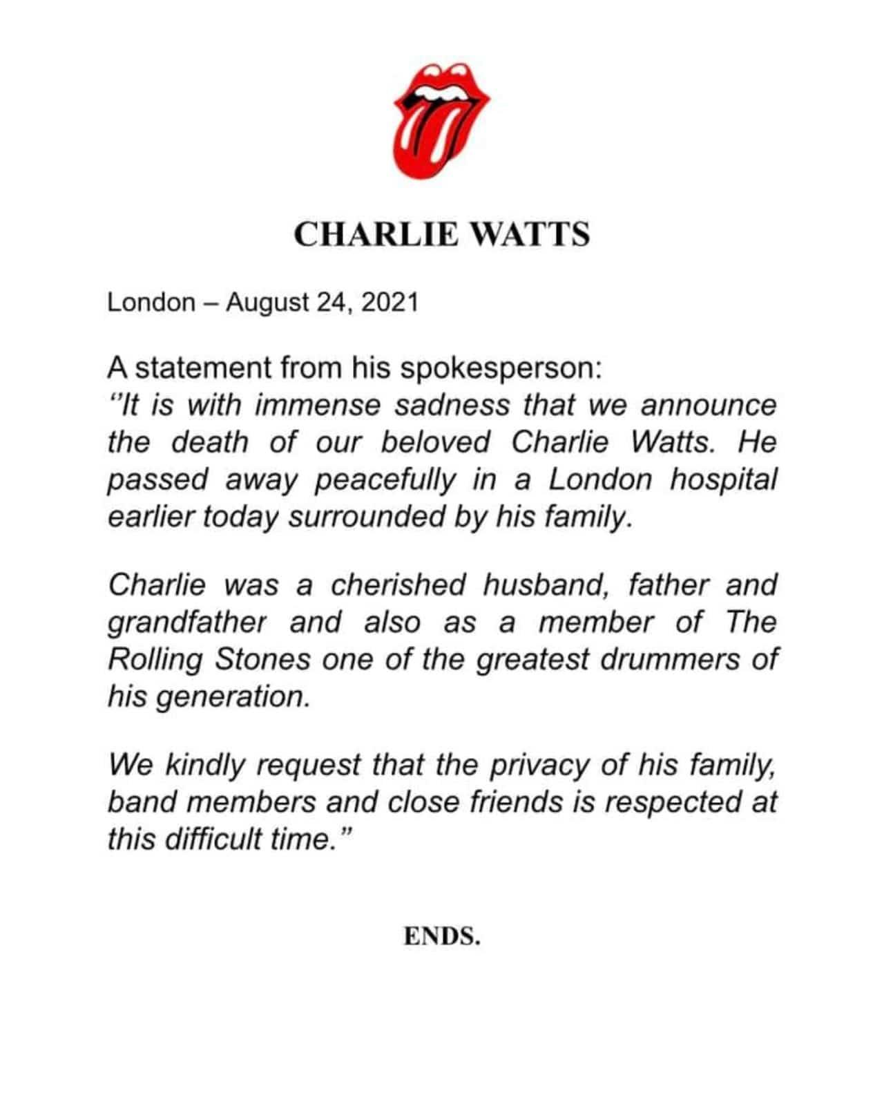 Muere Charlie Watts comunicado Rolling Stones