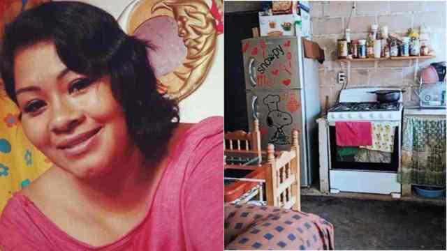 Mujer muestra con orgullo su casa de láminas y ladrillos
