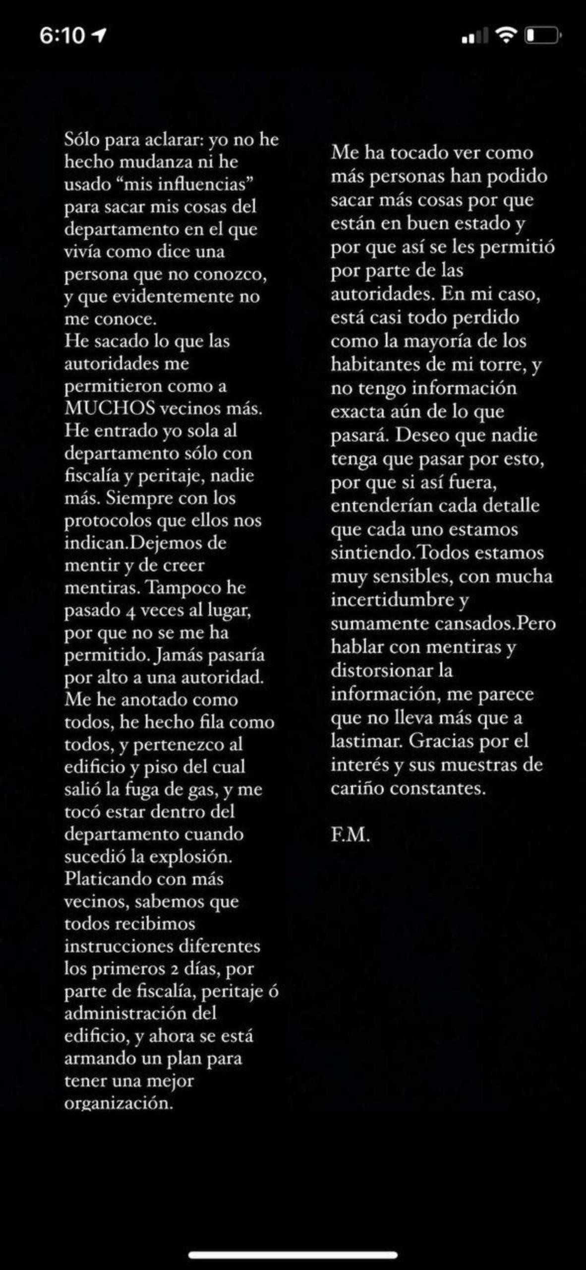 Fátima Molina responde críticas