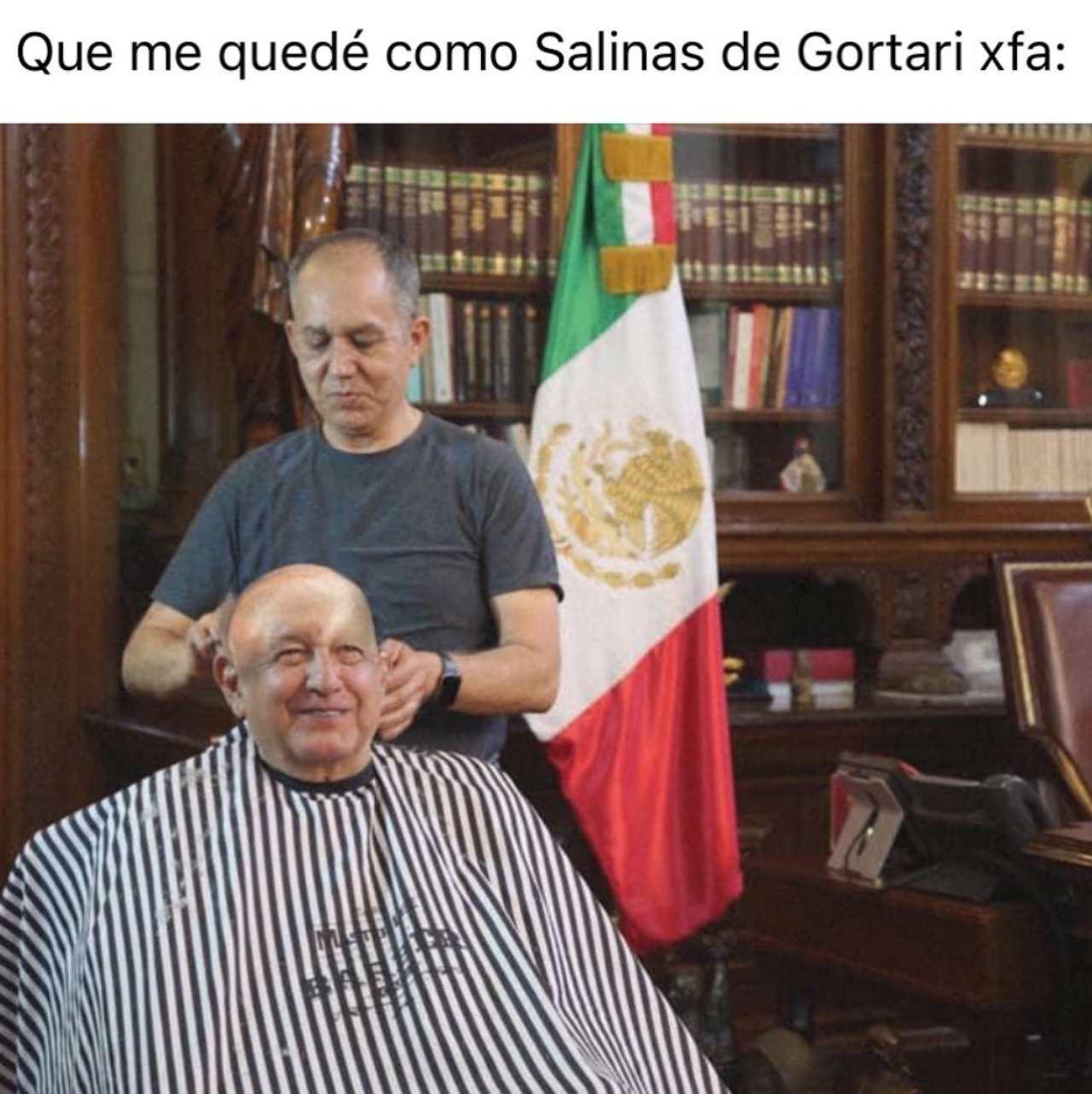 Meme del peluquero de AMLO Salinas de Gortari