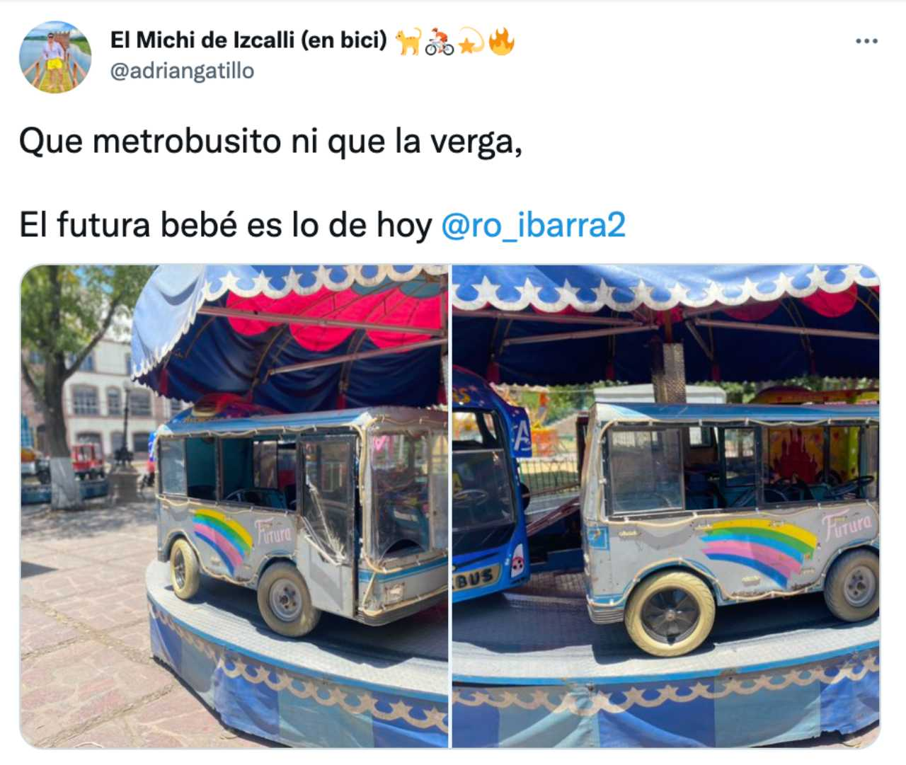 Meme del Metrobusito bebé con el camión de Futura