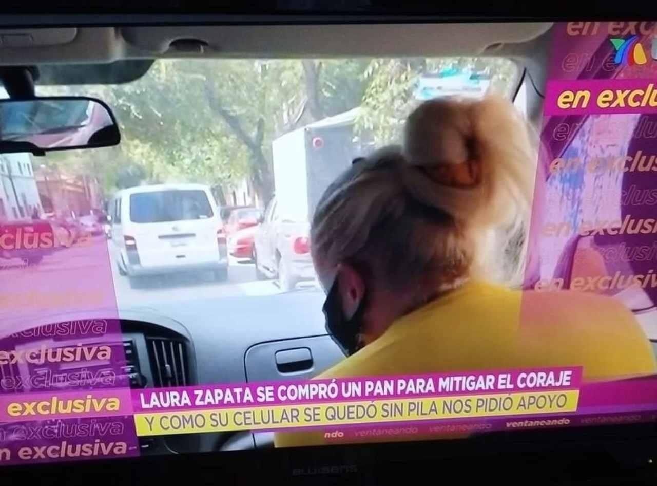 Laura Zapata se compró un pan ventaneando