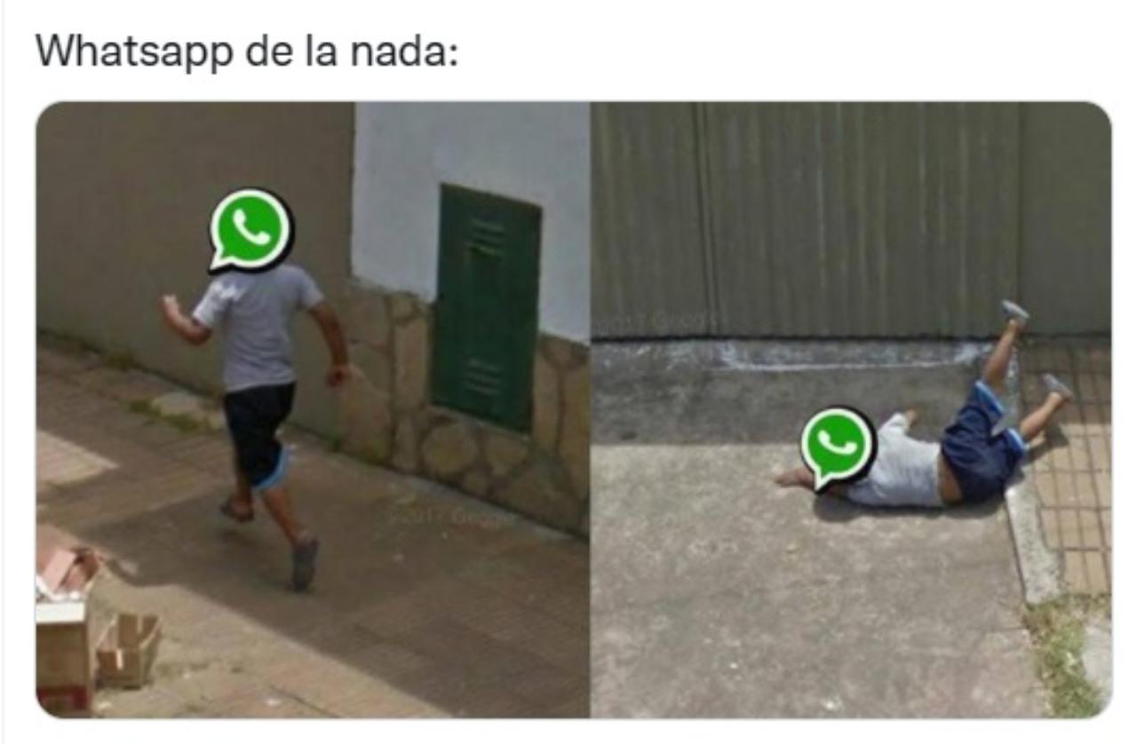 meme descripcion grafica caida whatsapp