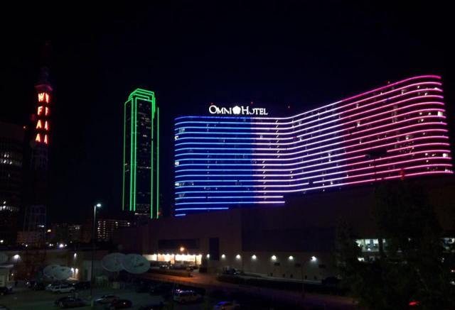 Dallas showing its support for France.