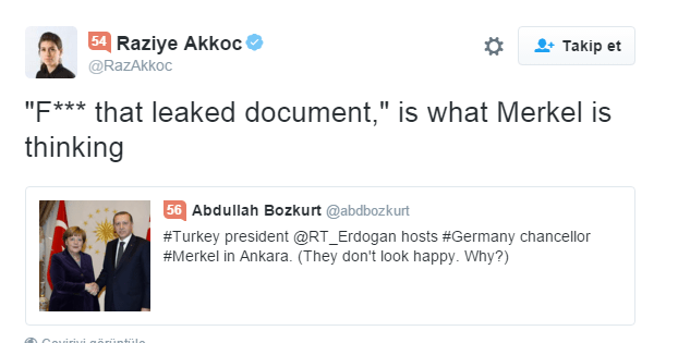 Raziye Akkoc Twitter da    F    that leaked document   is what Merkel is thinking https   t.co OjaYINUUvg