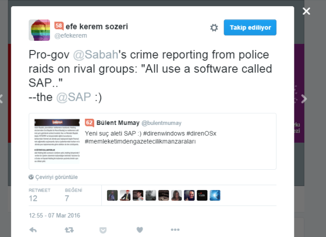 efe kerem sozeri Twitter da   Pro gov  Sabah s crime reporting from police raids on rival groups   All use a software called SAP..    the  SAP    https   t.co yHFioa9VkF