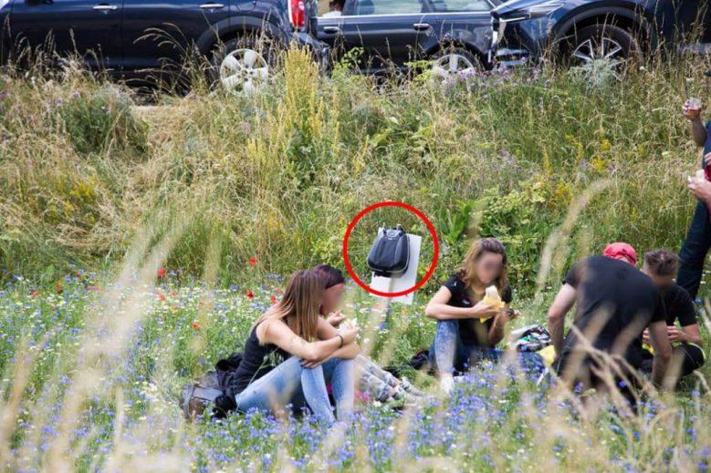 Castelluccio di Norcia - idioti fanno pic nic in mezzo alla fioritura