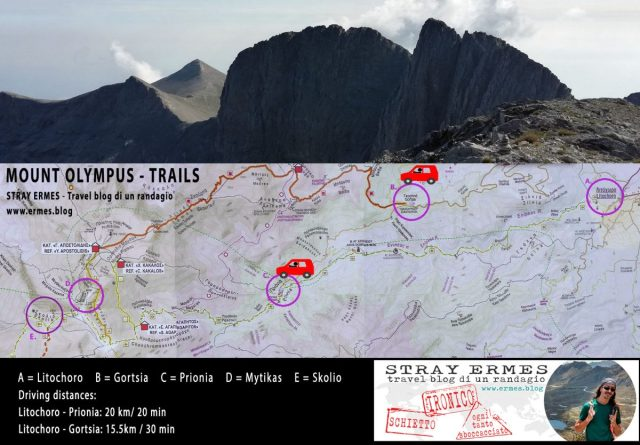 Monte Olimpo: mappa dei percorsi