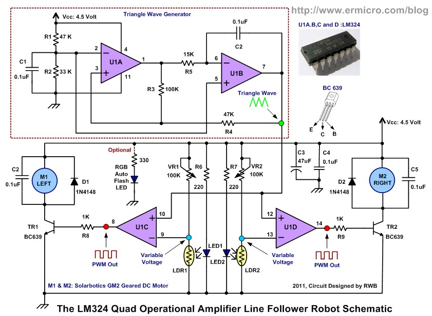 ^^Ronal Smith^^: The LM324 Quad Op-Amp Line Follower Robot